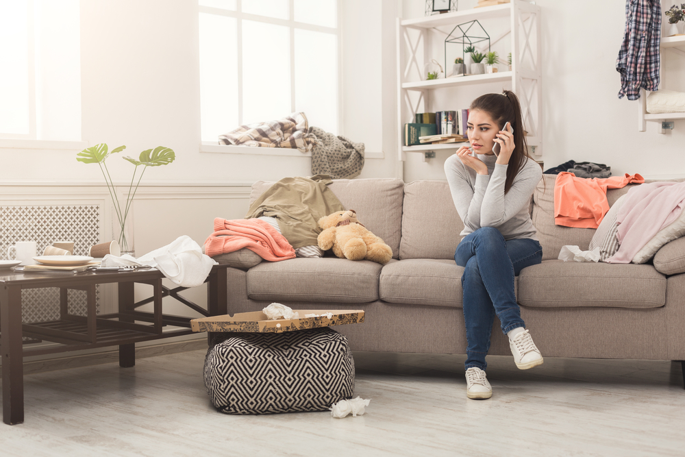 anxious woman on couch